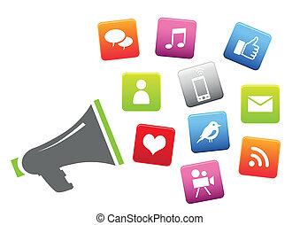 social, média, porte voix, icônes