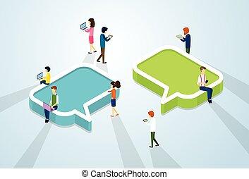 social, média, réseau, communication, gens, foule