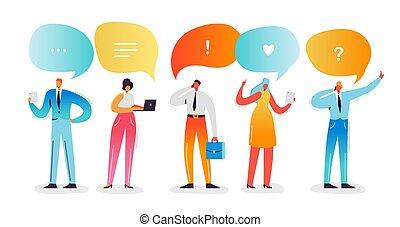 social, média, réseau, concept., caractères, utilisation, mobile, appareils, smartphone, ordinateur portable, tablette, pour, ligne, communication., homme femme, bavarder, sur, internet, à, parole, bubbles., vecteur, illustration