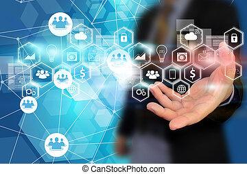 social, média, réseau, concept.