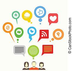 social, média, réseau, résumé, parole, bulles