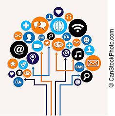 social, média, réseaux, business, arbre, plan