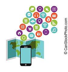 social, média, smartphone, appareil, icônes
