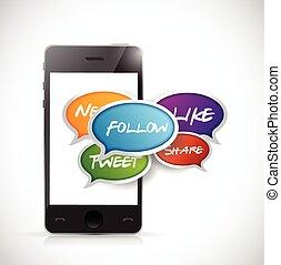 social, média, smartphone, communication