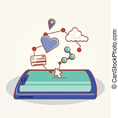 social, média, smartphone, ensemble, icônes