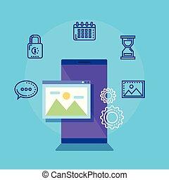 social, média, smartphone, icônes