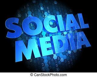 social, média, sur, sombre, numérique, arrière-plan.