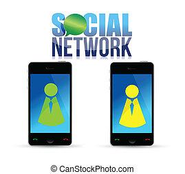social, média, téléphone portable, concept