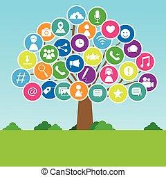 social, mídia, árvore