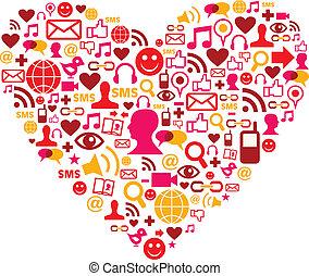social, mídia, ícones, em, forma coração