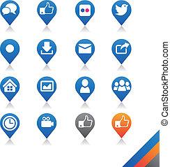 social, mídia, ícones, vetorial, -, simplicidade, série