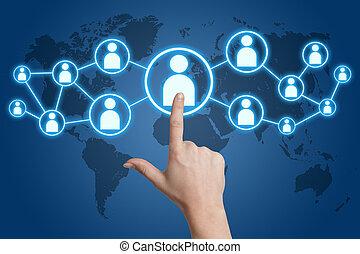 social, mídia, apertando, ícone