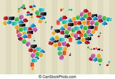 social, mídia, bolhas, globo, mapa mundial