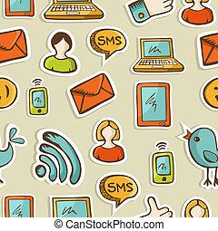 social, mídia, caricatura, ícones, padrão
