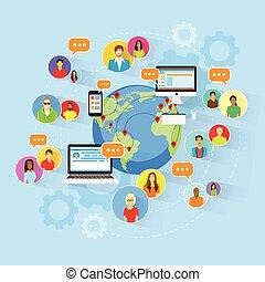 social, mídia, comunicação global, pessoas, mapa mundial