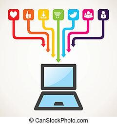 social, mídia, conceito, ícone