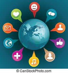 social, mídia, conceito, com, ícones
