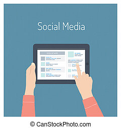 social, mídia, conceito, ilustração, apartamento