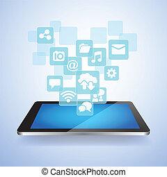 social, mídia, conceito, nuvem, computando