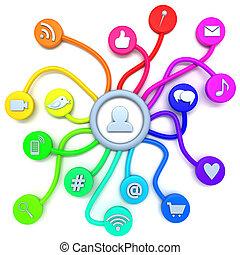 social, mídia, conexões