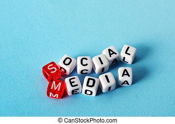 social, mídia, cubos