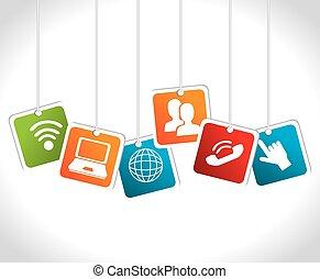 social, mídia, desenho, vetorial, illustration.