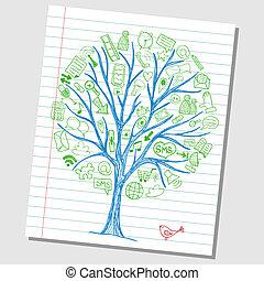 social, mídia, doodles, -, mão, desenhado, ícones, ao redor, árvore, esboço