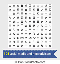 social, mídia, e, rede, ícones