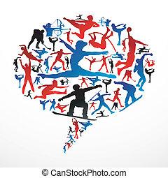 social, mídia, esportes, silhuetas