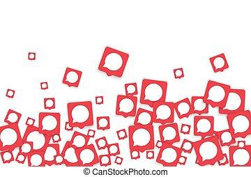 social, mídia, fundo, com, conversa, notificação, bolhas, em, icons.