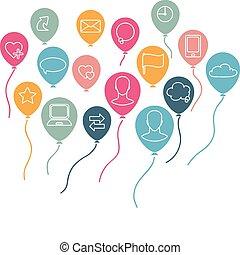 social, mídia, fundo, com, voando, balões