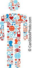 social, mídia, homem, ícones