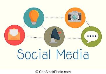 social, mídia, jogo, ícones