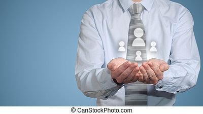 social, mídia, mãos, homem negócios, ícones