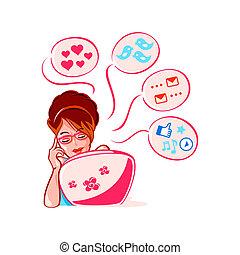 social, mídia, menina
