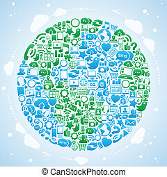 social, mídia, mundo