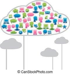 social, mídia, nuvens, forma, feito, com, comunicação global, ícones