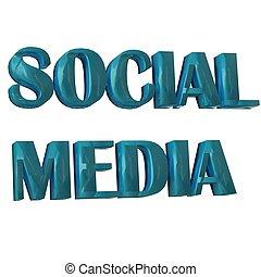 social, mídia, palavra, 3d, azul, imagem