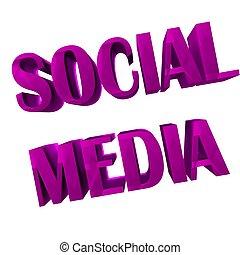 social, mídia, palavra, 3d, cor-de-rosa, imagem