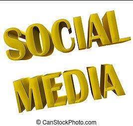 social, mídia, palavra, 3d, ouro, imagem