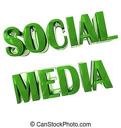 social, mídia, palavra, 3d, verde, imagem