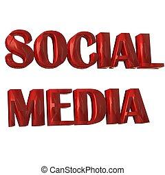 social, mídia, palavra, 3d, vermelho, imagem