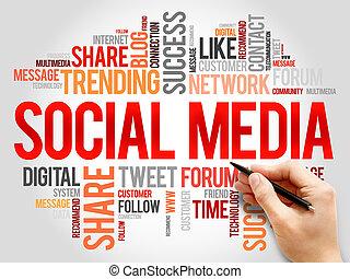 social, mídia, palavra, nuvem