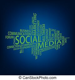 social, mídia, tag, nuvem