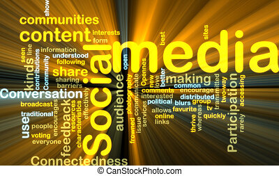 social, mídia, wordcloud, glowing
