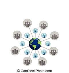 social, mapa, ilustração, rede