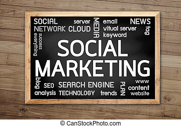 Social Marketing concept on chalkboard and background with Brown wood plank wall texture