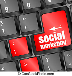 social marketing on computer keyboard key button