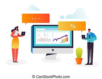 Social Marketing Strategy Concept. Business Characters Analyzing Data on Computer. Chat Talk, Social Network, People Communication. Vector illustration