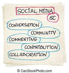 social media 5C concept - napkin doodle